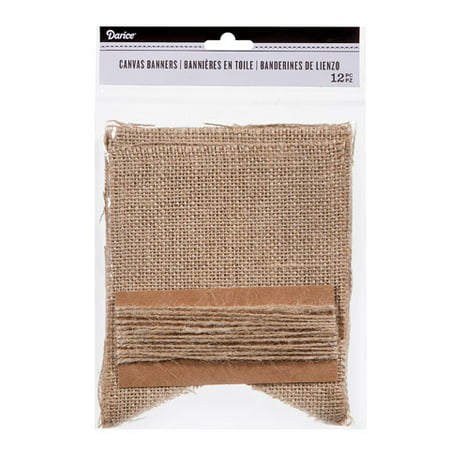 Darice Burlap Fishtail Banner Kit, 4.7in x 5.9in, 12pcs](Burlap Birthday Banner)