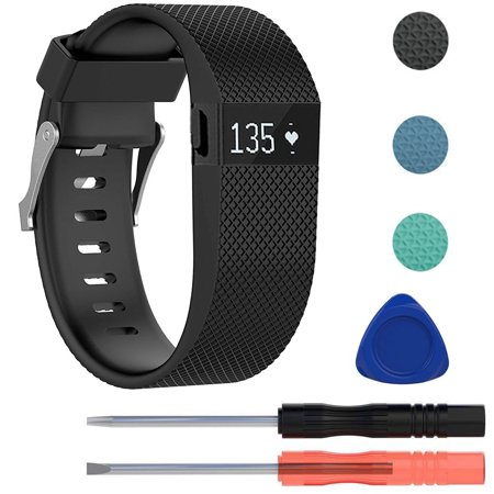 Replacement Premium Silicone Wristband Strap with Metal Buckle Clasp for Fitbit Charge HR Fitness Tracker, Including Screwdriver Tools