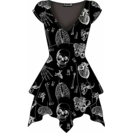 Women's V-neck Short Sleeve Skull Print A-line Dress (Skull Dress For Women)