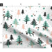 Evergreen Tree Forests Winter Trees Evergreens Fabric Printed by Spoonflower BTY