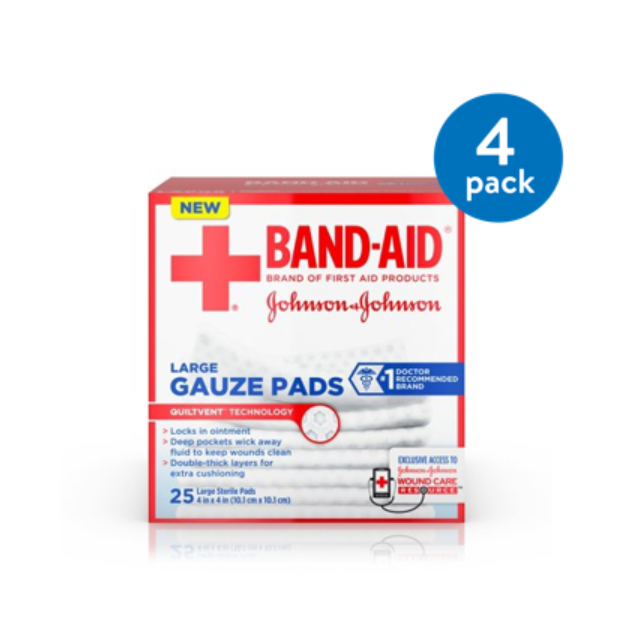 Band-Aid Brand Sterile Gauze Pads, Large, 4 in x 4 in, 25 ct