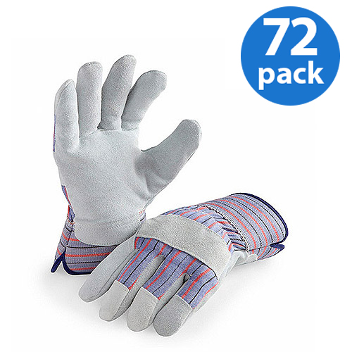 HANDS ON - LP4300-L-72PK, 72 Pair Value Pack, Genuine Suede Leather Palm Work Gloves