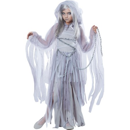 California Costumes Haunting Beauty Ghost Costume for Girls, Includes a Dress, a Shrug, a Hood, and Chains - Ghost Costume For Girl