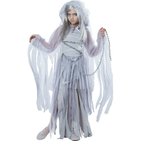 California Costumes Haunting Beauty Ghost Costume for Girls, Includes a Dress, a Shrug, a Hood, and Chains - Girl Ghost