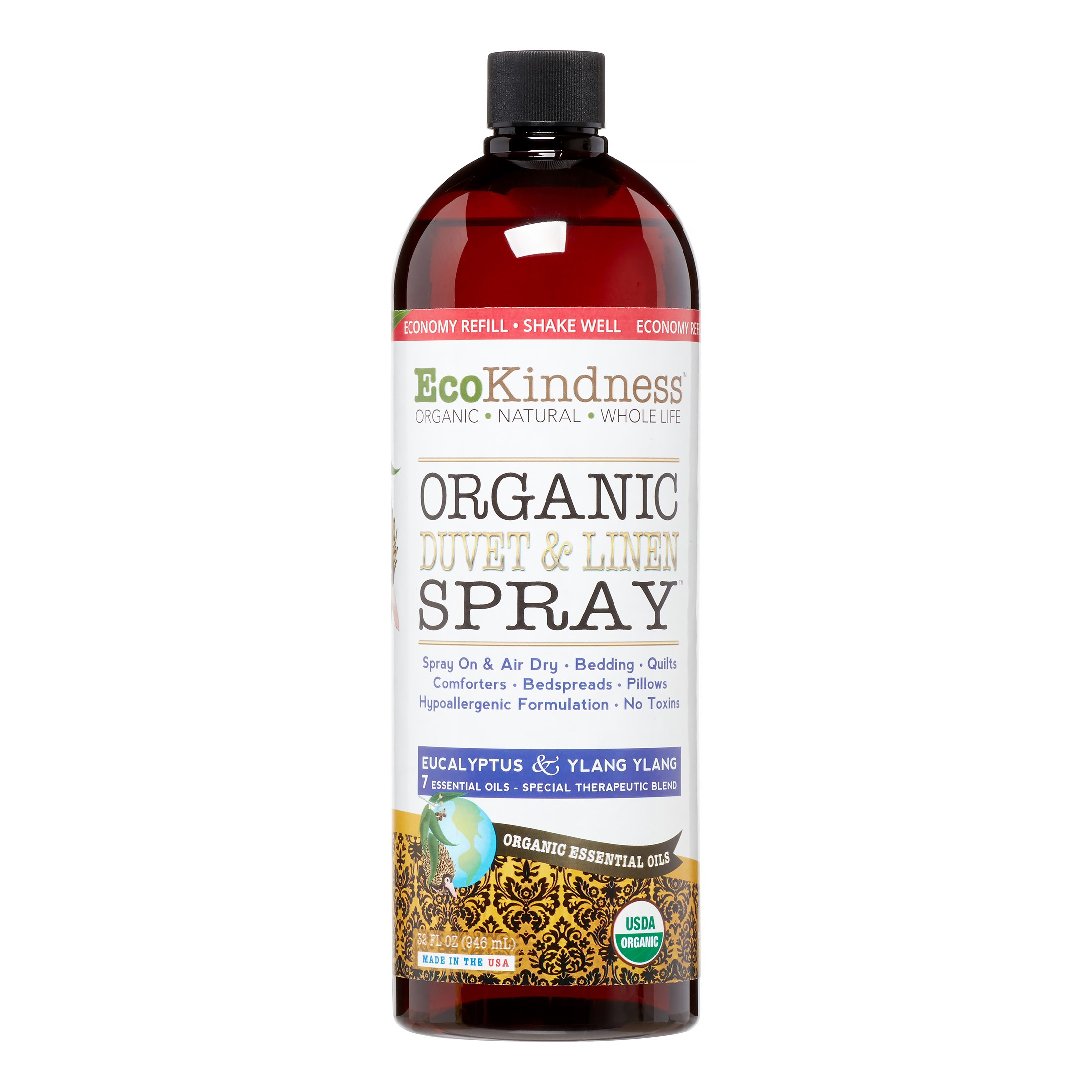 EcoKindness Organic Duvet & Linen Spray Economy Refill, Eucalyptus & Ylang Ylang, 32 Fl Oz
