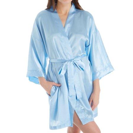 Women's Shadowline 4510 Charming Satin Wrap Robe (Blue S/M) - image 1 of 1