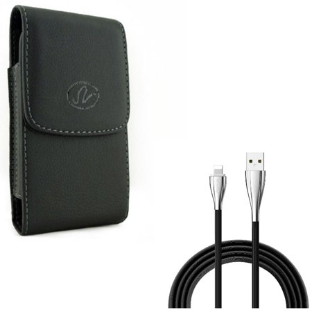 Charger Cord 6ft USB Cable w Leather Case Belt Clip for #model_series - Power Wire Long Sync Fast Charge and Holster Cover Pouch Vertical Carry