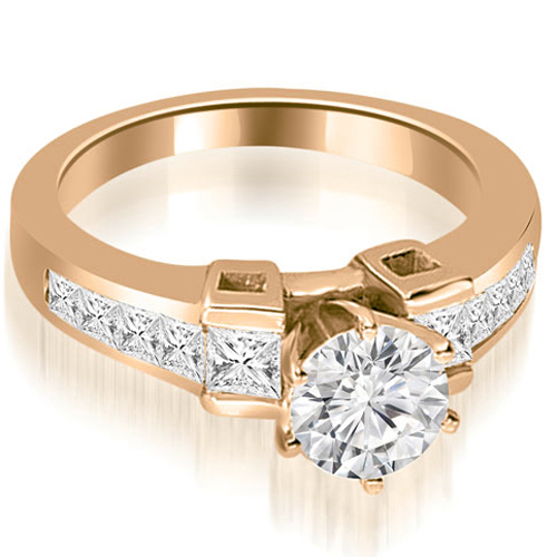 """""""1.10 cttw. 14K Rose Gold Channel Set Diamond Princess and Round Cut Engagement Ring (I1, H-I)"""""""