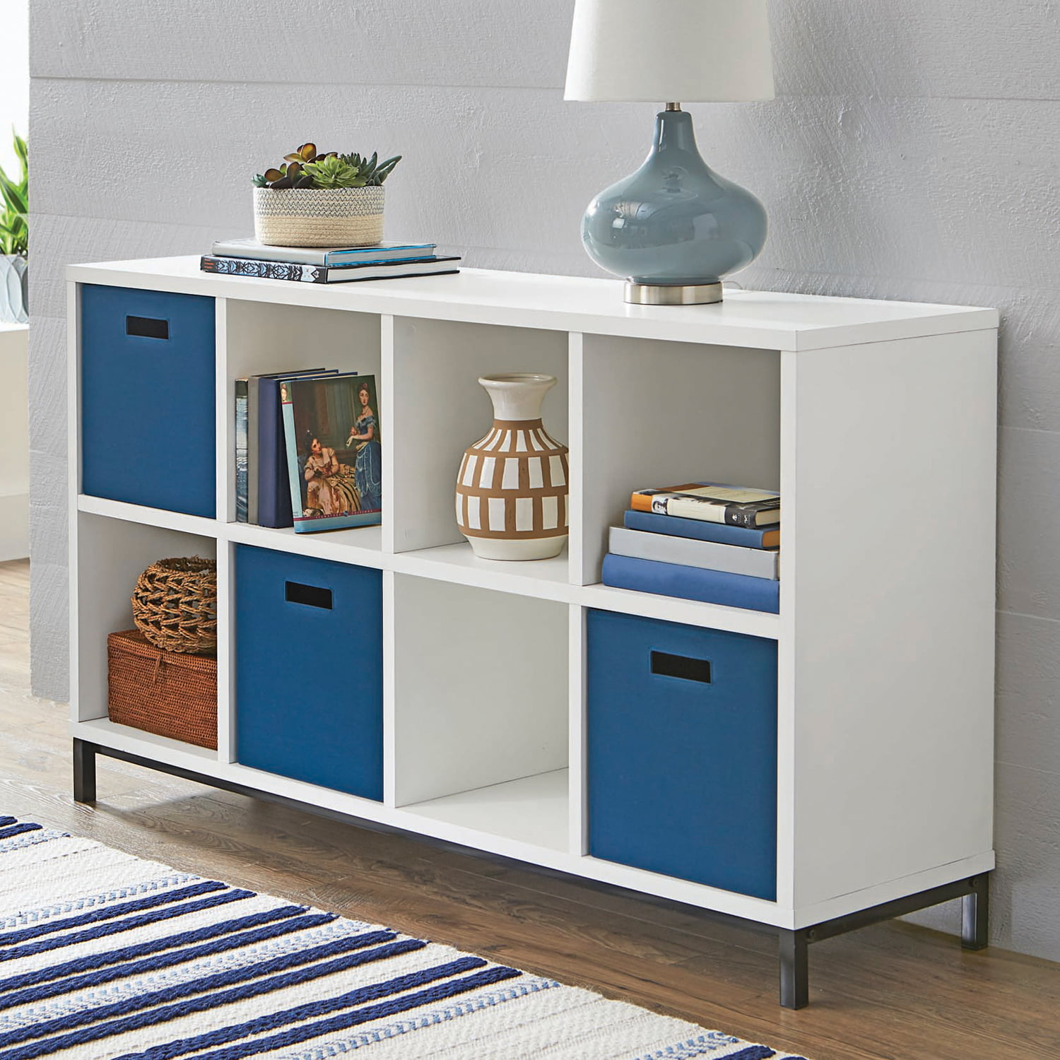 New Office Living Room Bedroom 8 Cube Storage Organizer With Metal Base White