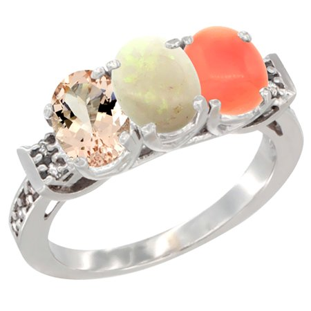14K White Gold Natural Morganite, Opal & Coral Ring 3-Stone Oval 7x5 mm Diamond Accent, sizes 5 - 10