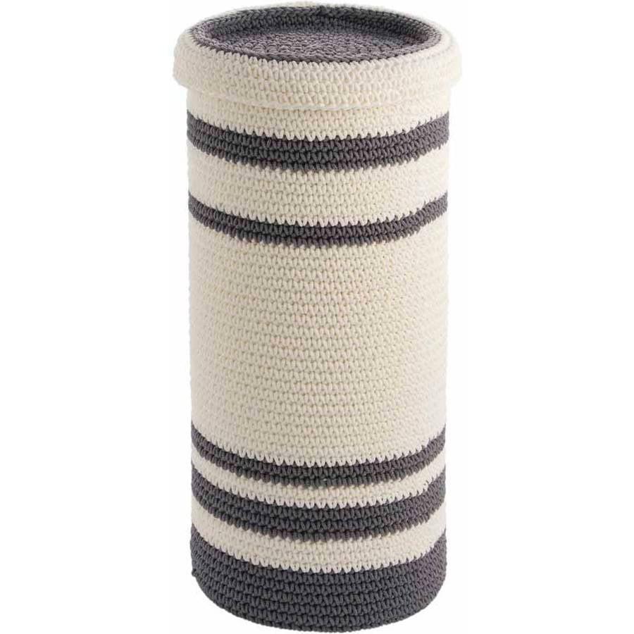InterDesign Ellis Knitted Free Standing Toilet Paper Roll Holder for Bathroom Storage, Gray/Ivory