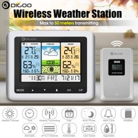 Digoo DG-TH8888Pro Color Wireless Weather Station Temperature & Humidity ThermometerIndoor/Outdoor Forecast Sensor ClockUSB Charge