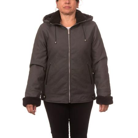Diamond Quilt Jacket (Women's Plus Size Diamond Quilt Sueded PU Coat with)