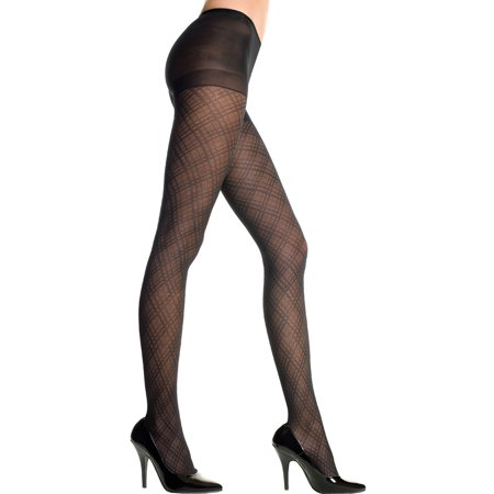 Spandex Diamond Criss Cross Pantyhose, Sheer Diamond Criss Cross Pantyhose