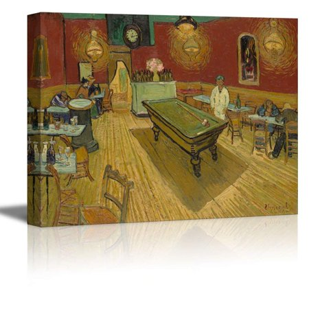 wall26 The Night Café by Vincent Van Gogh - Oil Painting Reproduction on Canvas Prints Wall Art, Ready to Hang - 12x18 inches