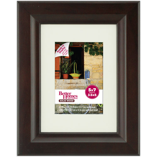 Better Homes and Gardens Studio 5x7 Wide Picture Frame, Mahogany