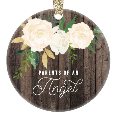 Parents of an Angel Ornament, Child Loss Memorial Gift for Mom & Dad In Memory of Baby Children Rustic Present Idea 3