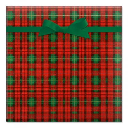 - Old World Plaid Foil Christmas Rolled Gift Wrap - 38 sq. ft. of metallic wrap