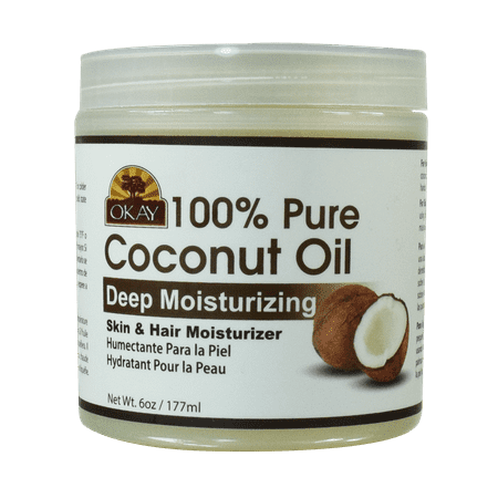 Okay Coconut Oil for Hair and Skin in Jar, 6 Oz