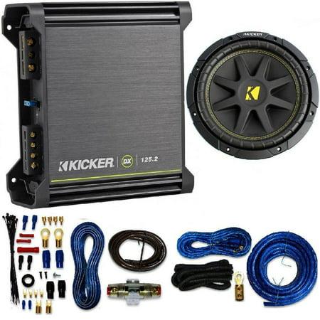 Kicker 125W RMS 2-Channel DX Series Amplifier W/ Kicker Comp 10-Inch Subwoofer 4 Ohm (Black) 4 Gauge Amp