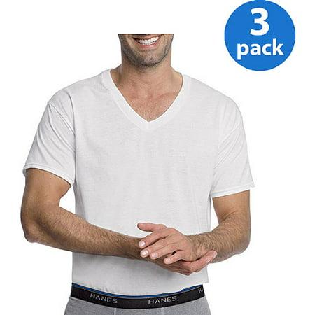 Hanes men 39 s 3 pack comfortblend white v neck t shirt for Hanes men s 6pk 3 free v neck shirts white
