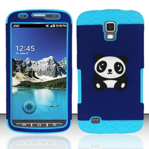 Insten For Samsung Galaxy S4 ACTIVE i537 i9295 GRIP Panda Bear 3D Cover Case - Baby Blue/Blue