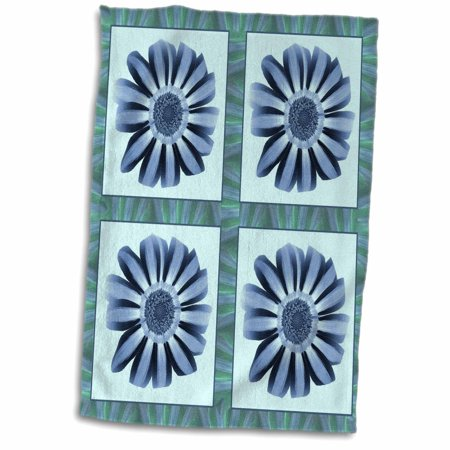 3dRose Four baby blue and navy striped flowers with blue and green flower petal border - Towel, 15 by 22-inch