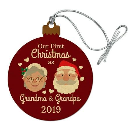 First Christmas as Grandma Grandpa 2019 Santa Mrs. Claus Wood Christmas Tree Holiday Ornament ()