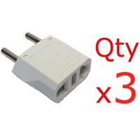 3 Pack of White Europe EU Euro Round Plug Adapters American US Type Plug to European/Asia Style Plug