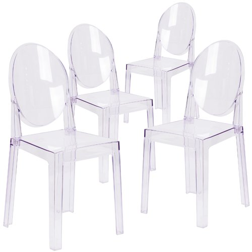 Flash Furniture 4 Pk. Ghost Chair in Transparent Crystal with Oval Back