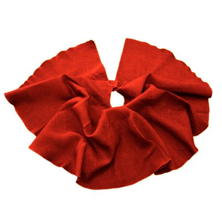 60R-Burlap-Tree-Skirt-Red Burlap Tree Skirt Christmas Tree Decor, Red - 60 in. Round ()