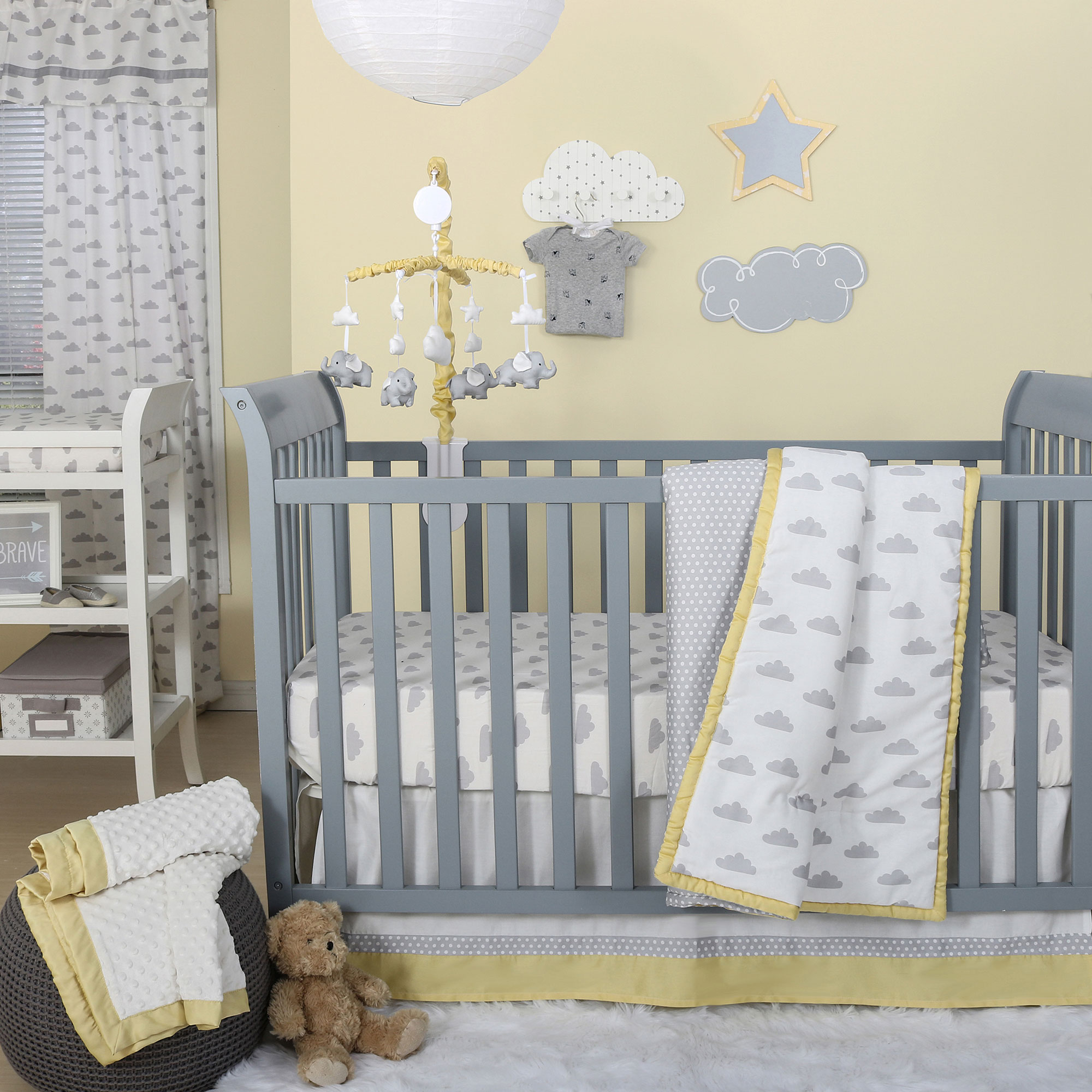 Peanut Shell 4 Piece Baby Crib Bedding Set - Grey Clouds,...