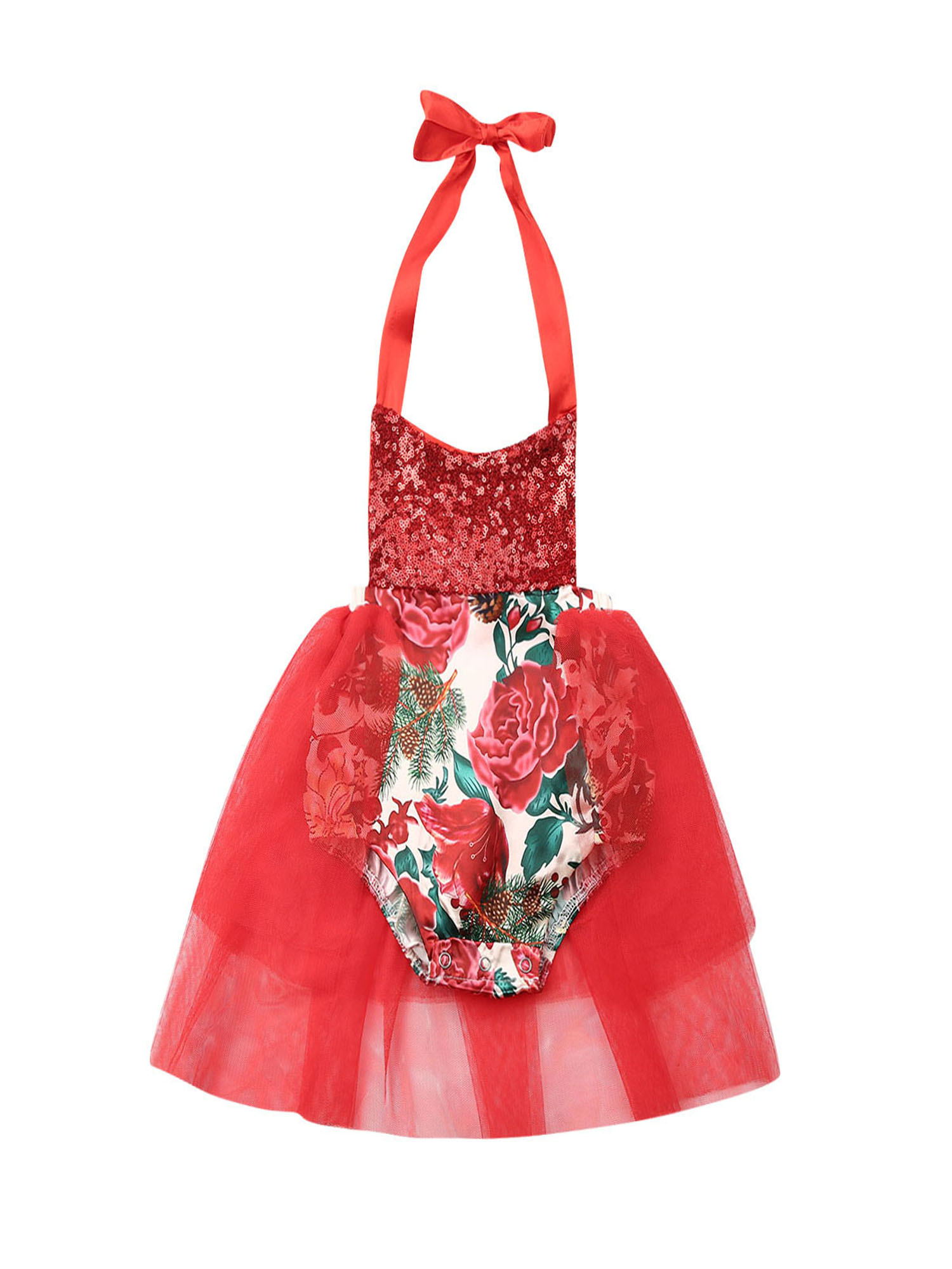 Infant Baby Girls Christmas Outfits First Xmas Party Romper Tutu Dresses Clothes