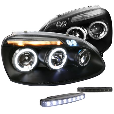 Spec-D Tuning For 2006-2010 Volkwagen Jetta Halo Projector Black Headlight + 8-Led Bumper Fog Lights (Left+Right) 2006 2007 2008 2009 2010