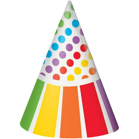 Rainbow Party Hats, 8-Count