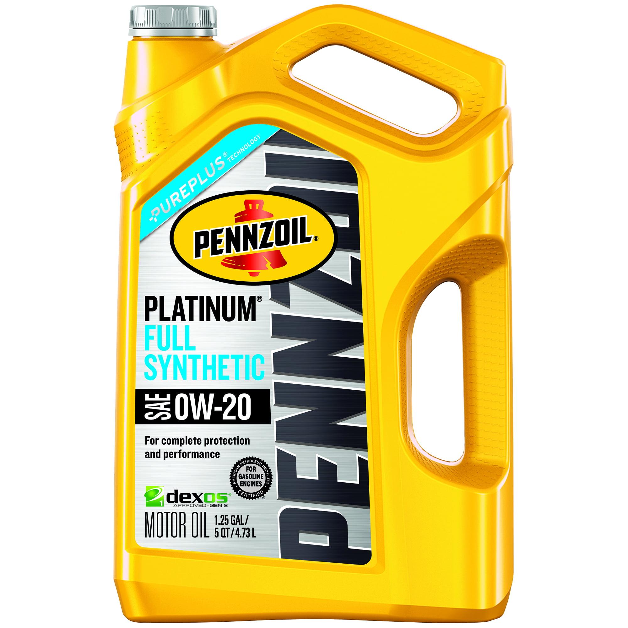 Pennzoil Platinum SAE 0W-20 Dexos Full Synthetic Motor Oil, 5 qt