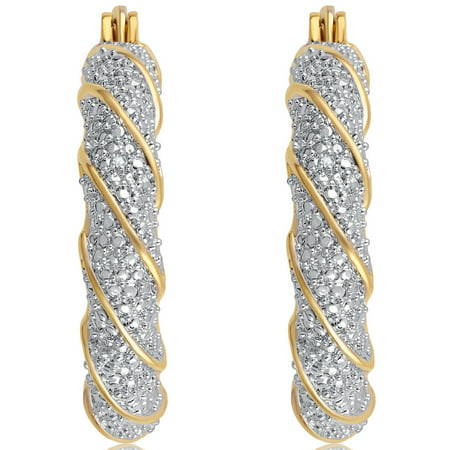 Diamond Accent 14K Yellow Gold tone over Brass Twisted Hoop Earring.