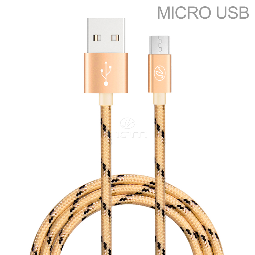 AT&T Samsung Galaxy S7 Premium High Quality 10 Feet Braided Gold Fast Micro USB Data Sync + Charging Cable