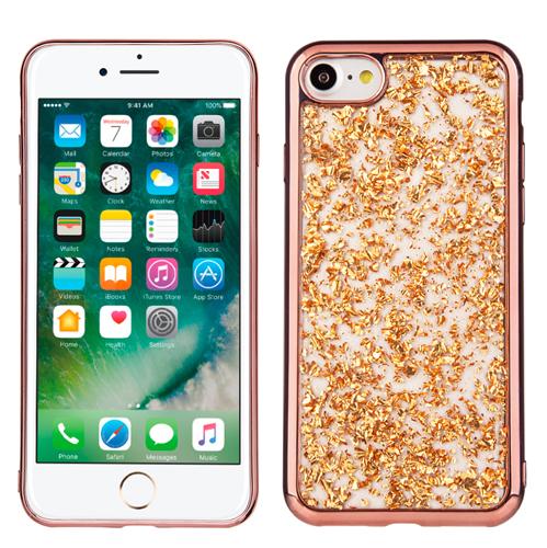 Rose Gold Chrome Edge Glitter Flakes Case For Apple iPhone 7 8 Phone