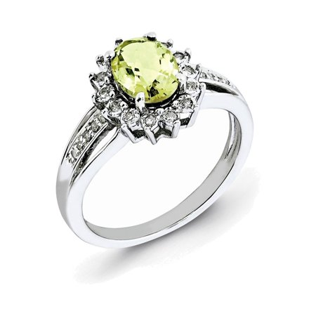 - Sterling Silver Diamond & Lemon Quartz Ring Size 5