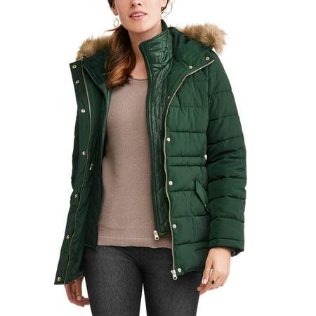 b0e4294206f ONLINE - Time and Tru Women s Heavyweight Puffer Coat With Faux Fur ...