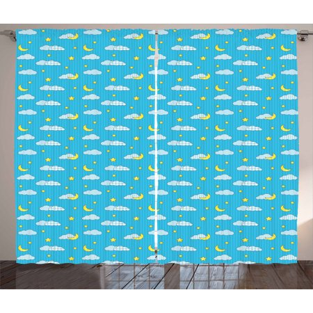 Moon Curtains 2 Panels Set, Striped Checkered and Dotted Cloud Motifs with Yellow Crescent Moon Kids Bedtime, Window Drapes for Living Room Bedroom, 108W X 63L Inches, Pale Blue Yellow, by Ambesonne ()