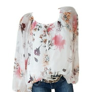 S-5XL Plus Size Casual Pullover Chiffon Blouses for Ladies Long Sleeve Floral Print Loose Fit Off Shoulder Blouses for Ladies