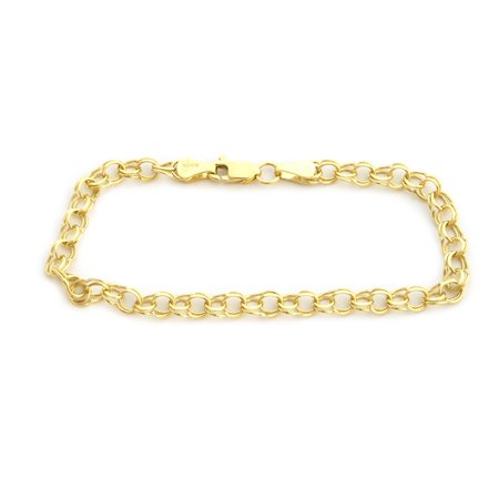 Solid 14k Yellow or White Gold 5mm Solid Round Double Link Chain Bracelet, 7