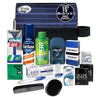 "Convenience Kits International ""Man On the Go"" Premium 15-piece Travel Kit Featuring Gillette Twin Disposable Razor and Swago Cologne Packet"