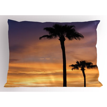 Palm Tree Pillow Sham PalmTrees Twilight in Tropical Environment Natural Beauty at Sunset Scene Print, Decorative Standard Size Printed Pillowcase, 26 X 20 Inches, Yellow Black, by Ambesonne - Tropical Scenes