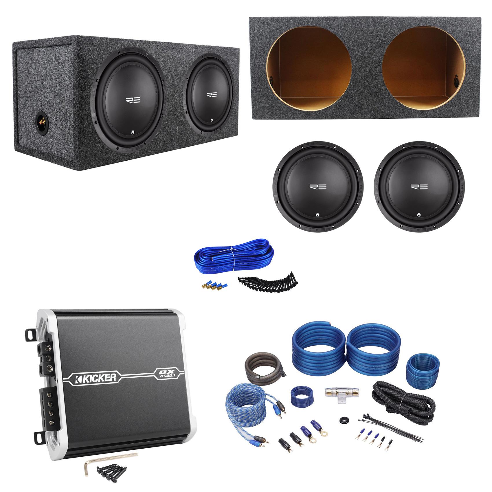 "2 RE Audio REX12S4 V2 12"" 400W Subwoofers+Sealed Box+Kicker Amplifier+Amp Kit"