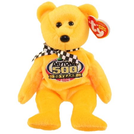 Gold Racing - TY Beanie Baby - RACING GOLD the Nascar Bear ( Yellow Version ) (8.5 inch)