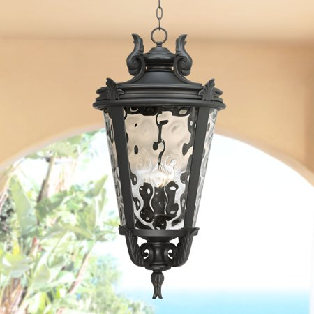 John Timberland Traditional Outdoor Light Hanging Textured Black Scroll 30 Clear Hammered Gl Damp Rated For Porch Patio