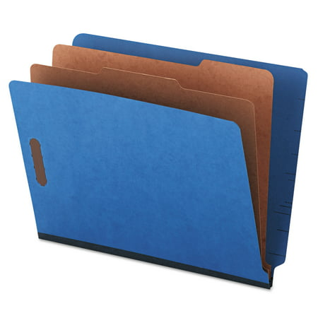 Universal Pressboard End Tab Classification Folders, Letter, Six-Section, Blue, 10/Box -UNV10318